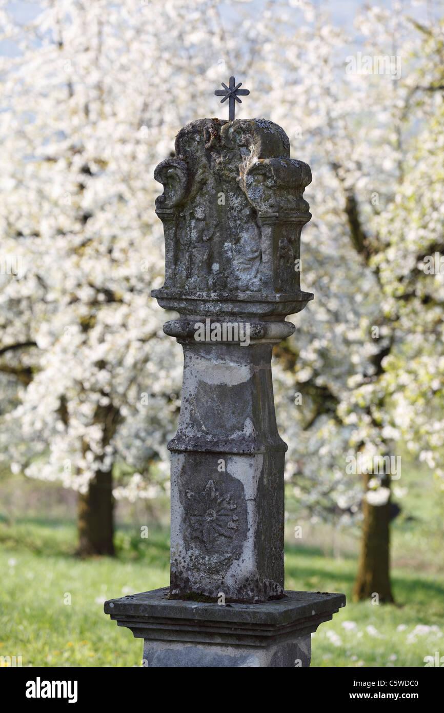 Deutschland, Bayern, Franken, Fränkische Schweiz, Pretzfeld, Ansicht der Bildstock mit Kirschblüten Stockbild