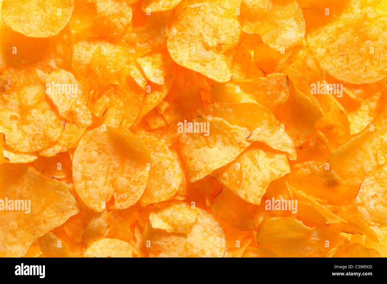 Kartoffel-Chips, full-Frame, Nahaufnahme Stockbild