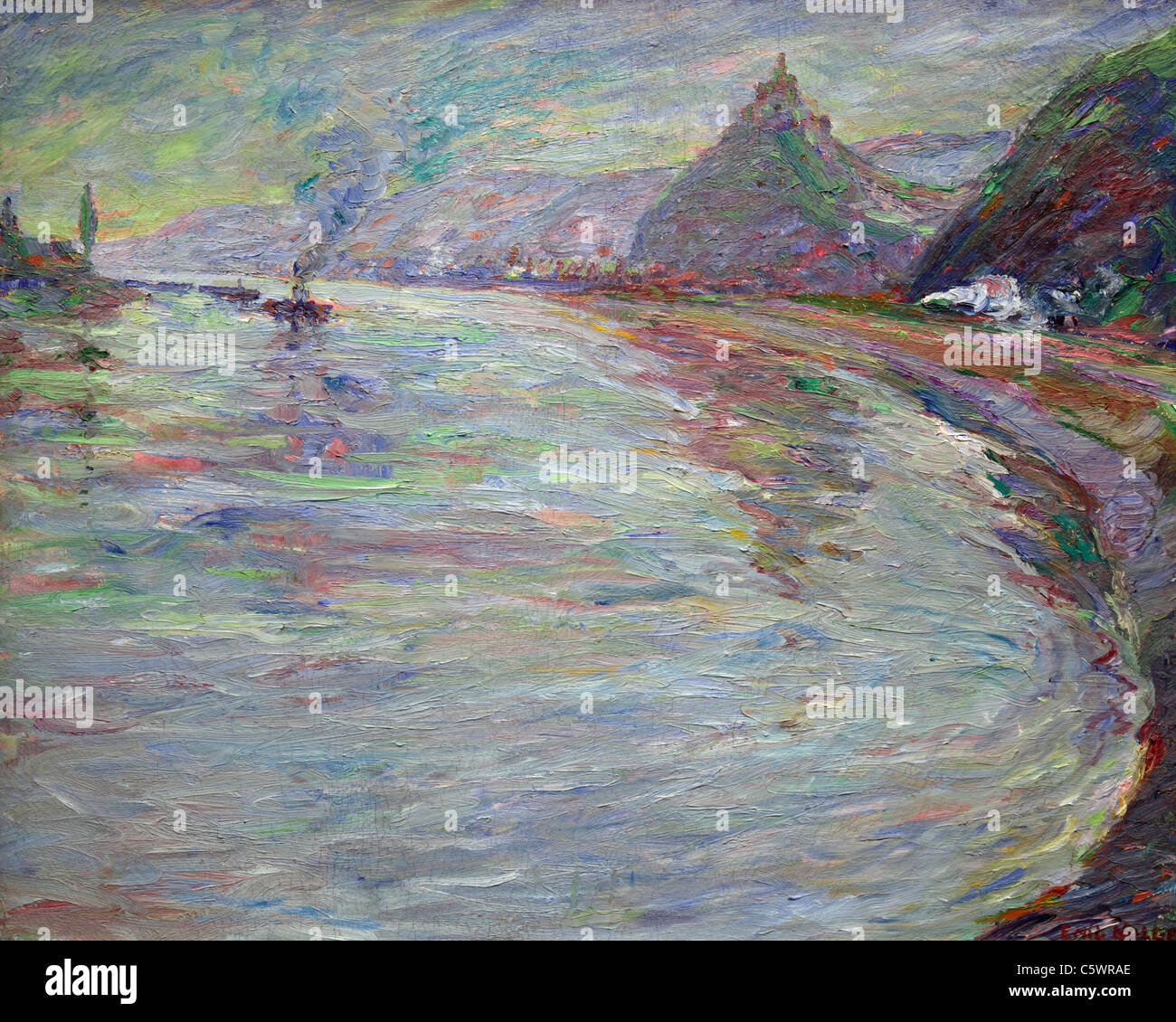 OElgemaelde der Kunstausstellung Im Mittelrhein-Museum Koblenz, Rheinland-Pfalz, bin Rhein von Emil Nolde Stockbild