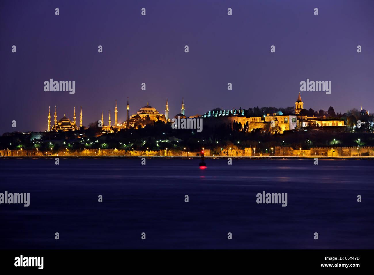 Von links nach rechts, die blaue Moschee (Sultanahmet Camii), Hagia Sophia und dem Topkapi-Palast. Istanbul, Türkei Stockbild