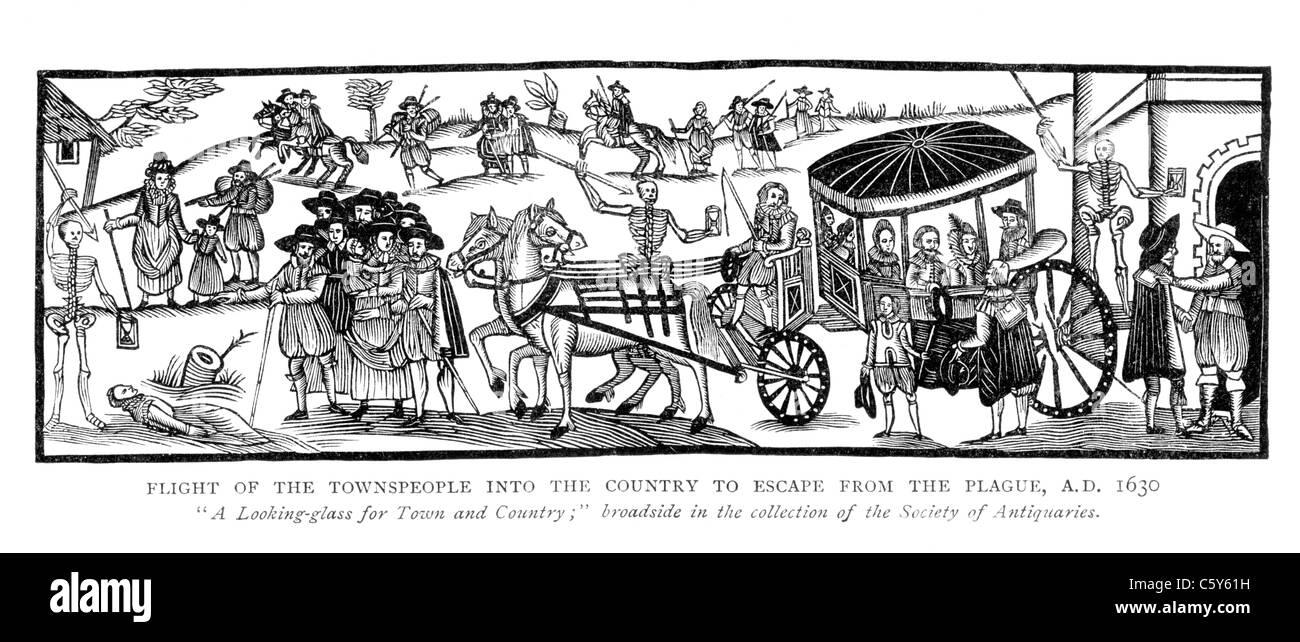 Flug der Stadtbewohner in das Land, Flucht vor der Pest AD 1630; Schwarz und weiß-Abbildung; Stockbild