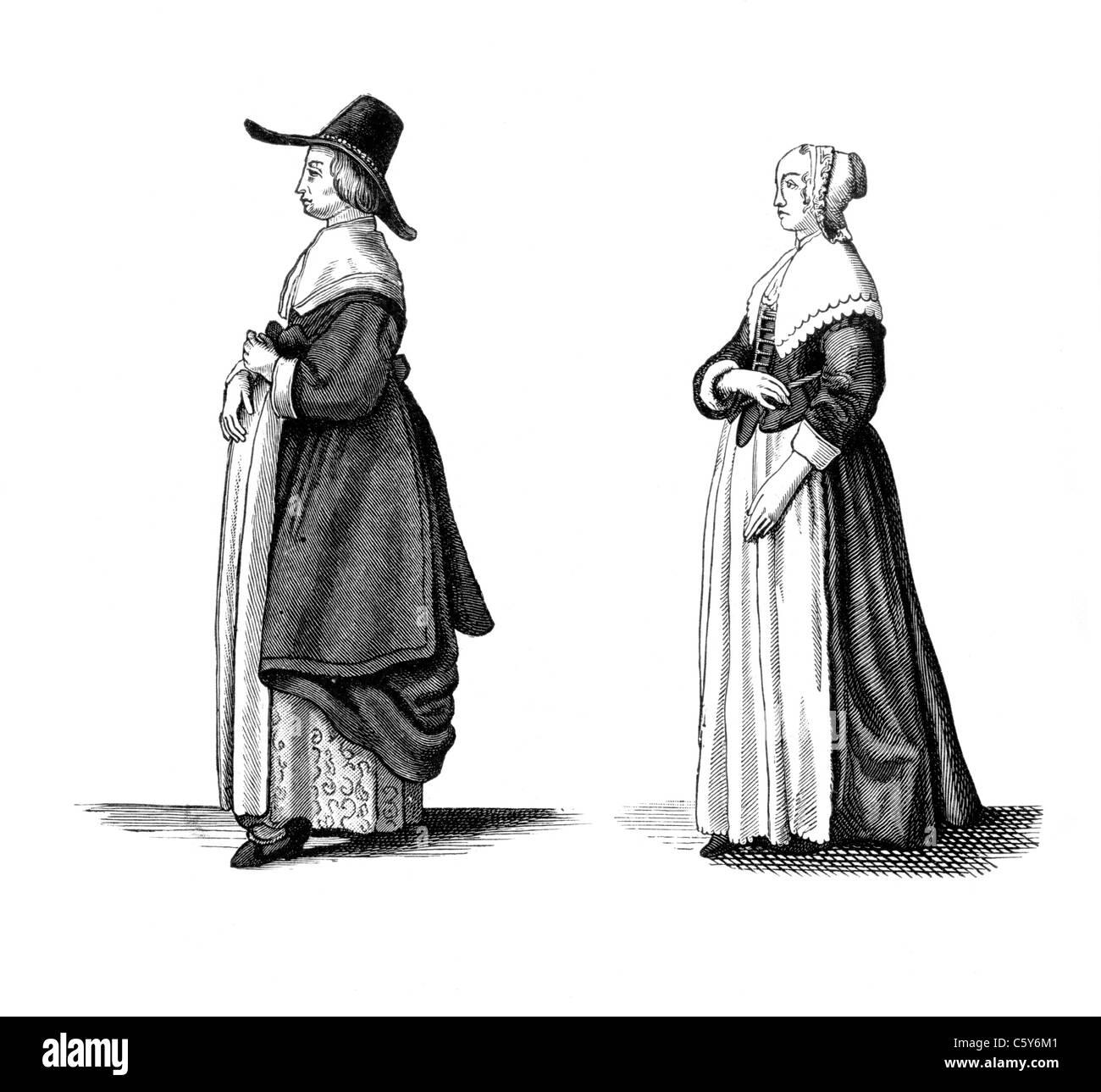 """Ein englischer Kaufmann Frau und Bürgers Tochter, Wencelslaus Hollar, """"Aula Veneris"""", 1649; Schwarz Stockbild"""