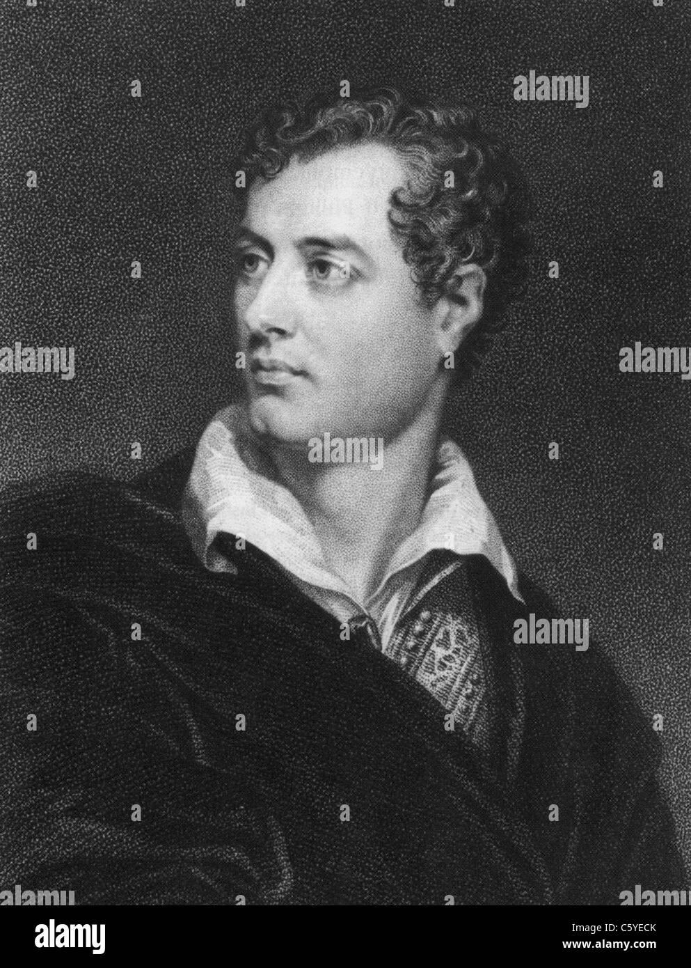 Britische Dichter LORD BYRON (1788-1824) im Jahr 1814 nach Gemälde von Thomas Phillips Stockbild