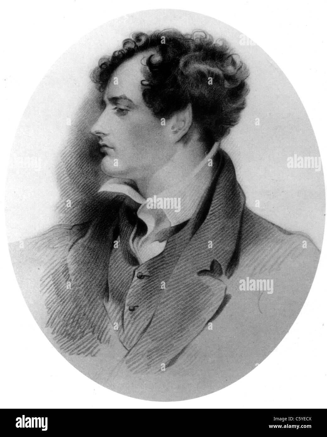 Britische Dichter LORD BYRON (1788-1824) im Jahre 1816 Stockbild