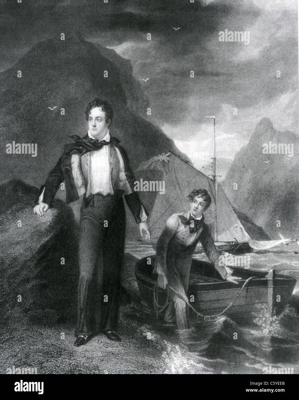 LORD BYRON (1788-1824) englischen romantischen Dichter wie William Finden in den 1830 Gravur zeigt Stockbild