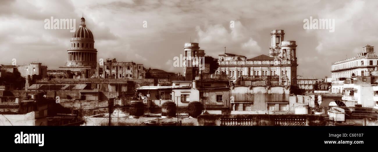 Havanna Vieja, erhöhte Ansicht, alte Havanna Skyline Panorama, Kuba Stockfoto