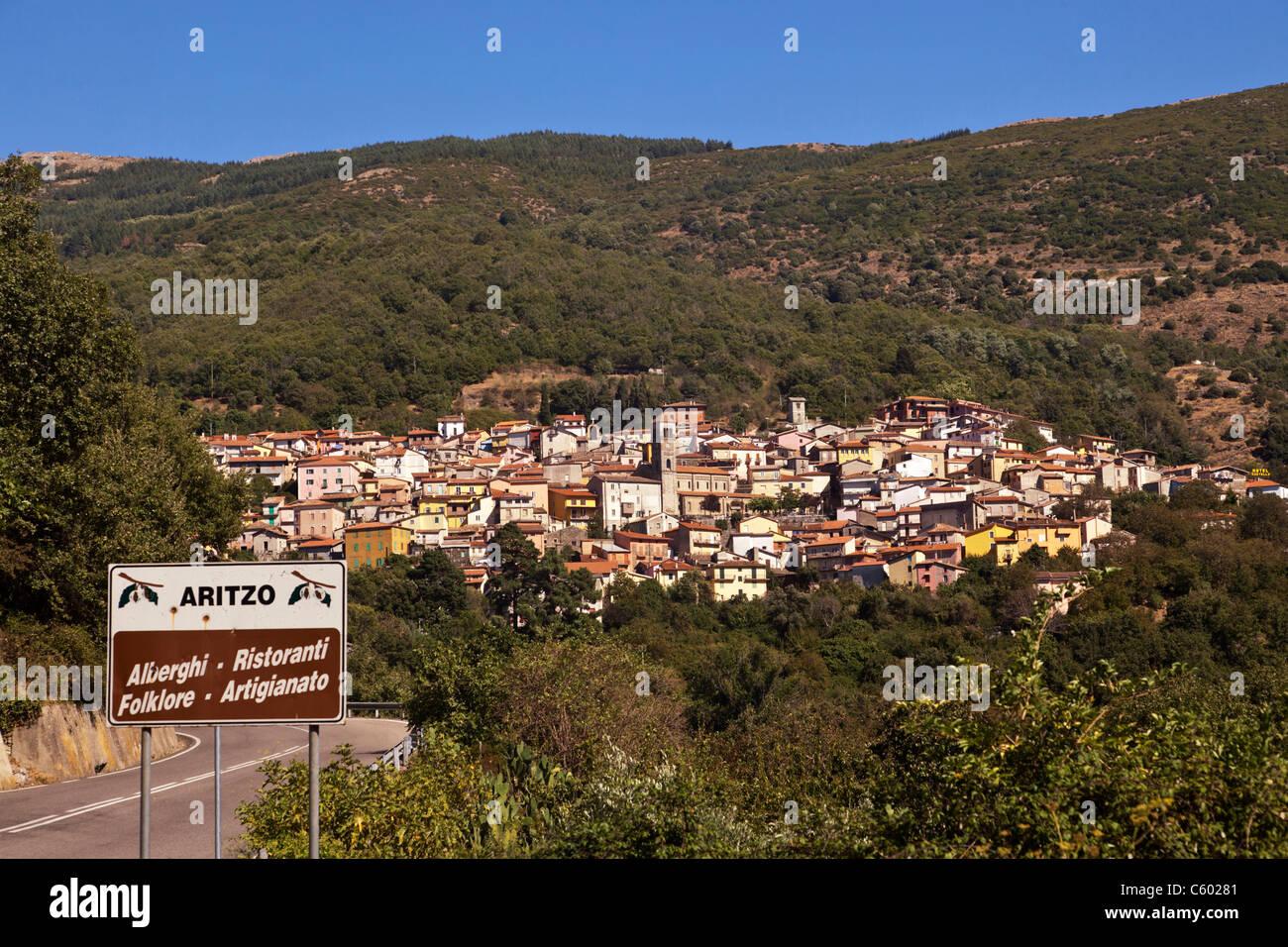 Aritzo Dorf, Italien-Sardinien Stockbild