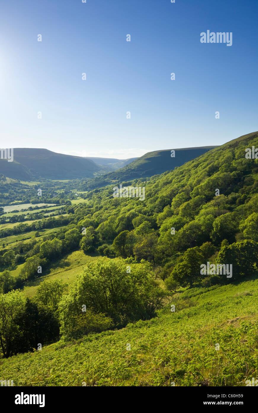 Tal der Ewyas (Llanthony Bereich). Die schwarzen Berge. Brecon Beacons National Park. Powys. Wales. VEREINIGTES Stockbild