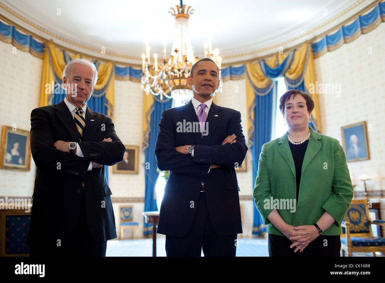 Präsident Obama VP Biden und Solicitor General Elena Kagan vor dem Präsidenten Nominierung von Kagan, Stockbild