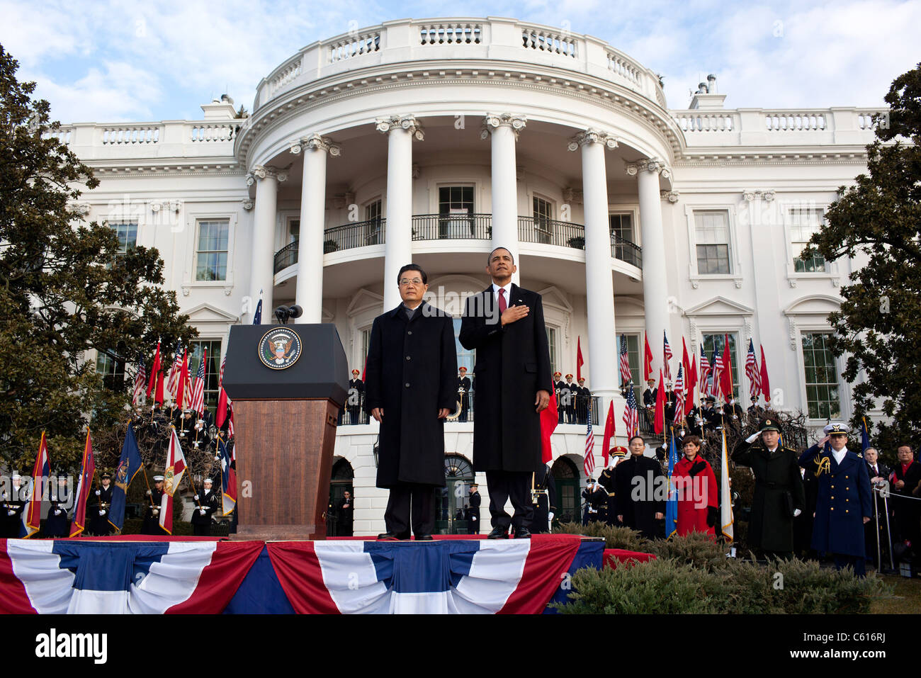 Willkommenszeremonie für chinesischen Präsidenten Hu Jintao auf dem South Lawn des weißen Hauses. Stockbild