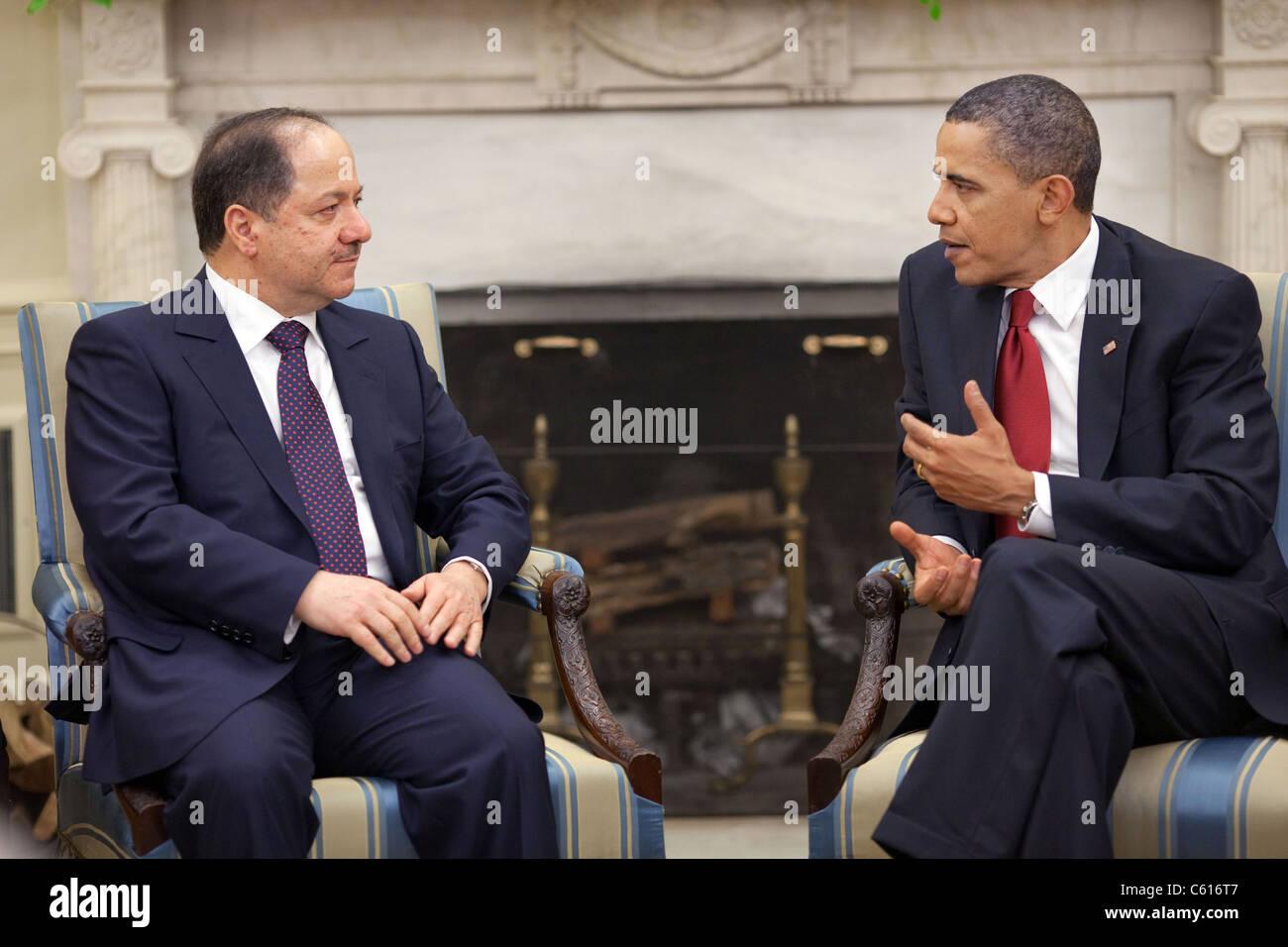 Präsident Obama trifft sich mit Masoud Barzani Präsident des Irak Kurdistan Region im Oval Office. 25. Stockbild