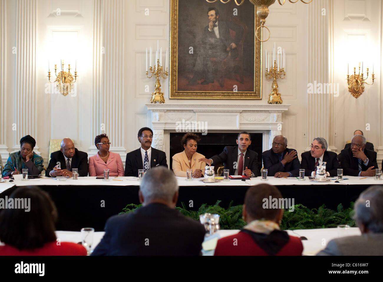 Präsident Obama trifft sich mit der Congressional Black Caucus, Reform des Gesundheitswesens im Weißen Stockbild