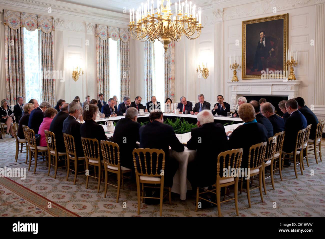 Präsident Obama trifft sich mit Senat Demokraten, Health Care bei weißen Haus 2. Juni 2009 (BSWH_2011 Stockbild