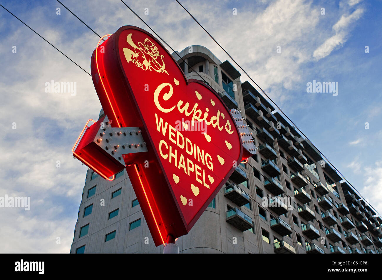 Hochzeit Kapelle Cupids Las Vegas NV Nevada Stockbild