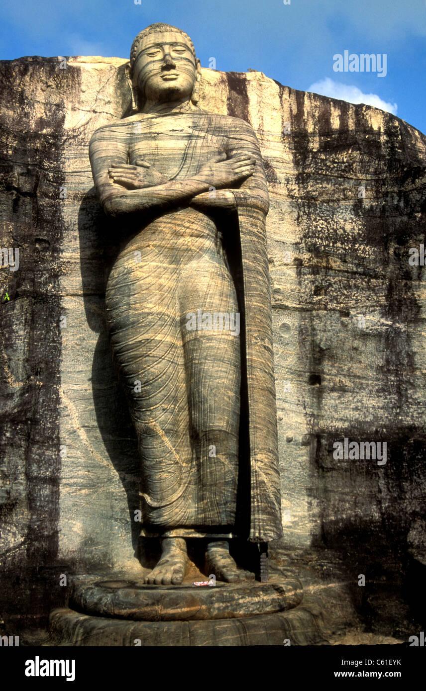 Gal Viharaya Riese stehende Buddha-Statue in Polonnurawa Sri Lanka Stockbild