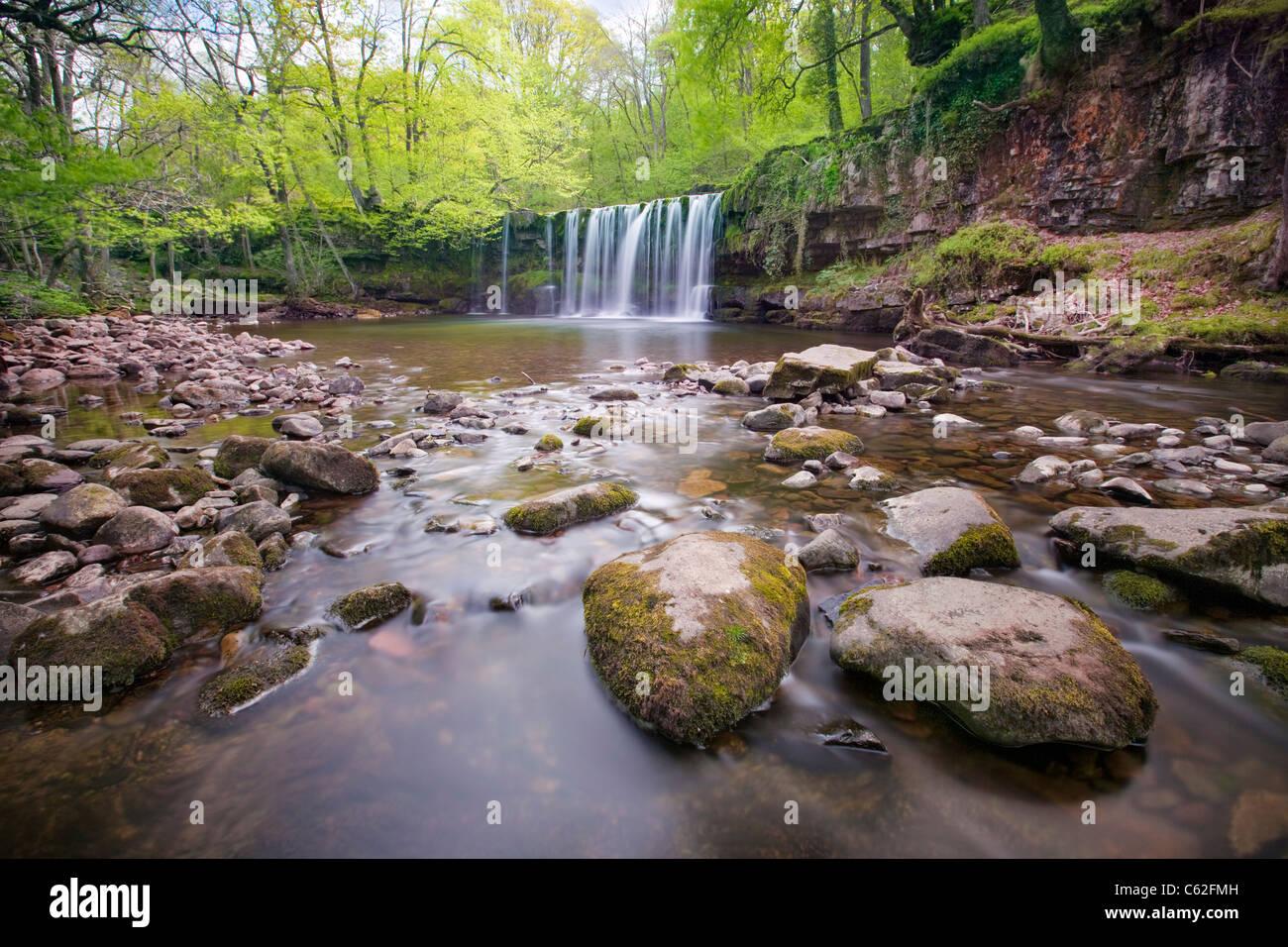 Die Brecons Baken Wasserfälle im Bereich Ystradfellte, Wales. Stockbild