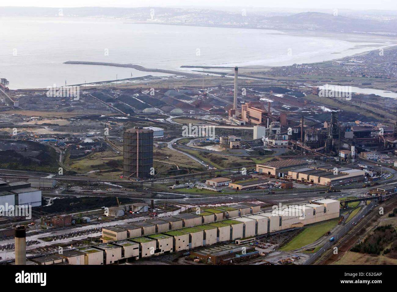 Eine Luftaufnahme von Port Talbot Stahlwerk Stahl indischen Riesen TATA im Besitz Stockfoto