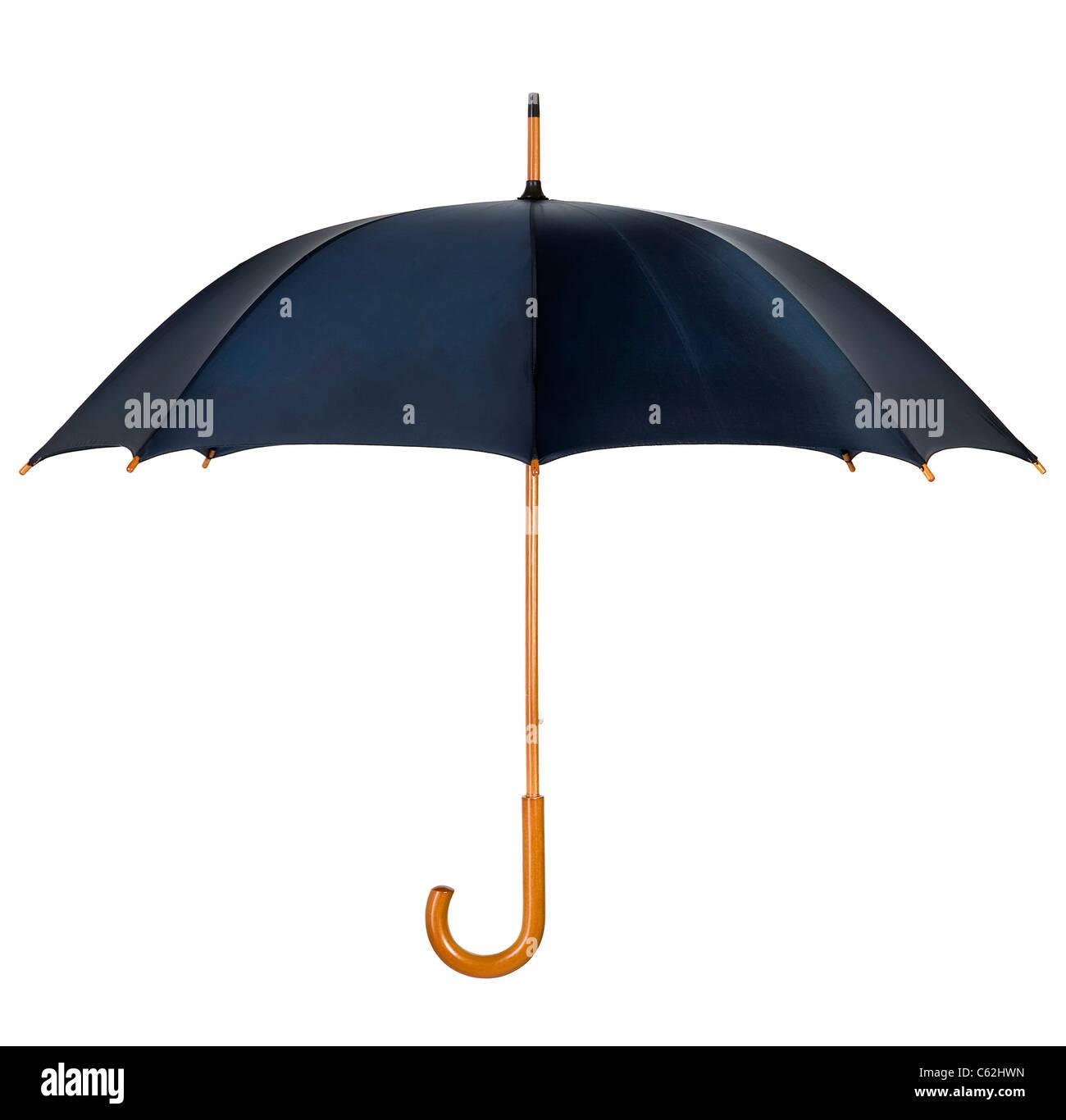 Schwarzer Regenschirm mit hölzernen Schaft und Griff Stockbild