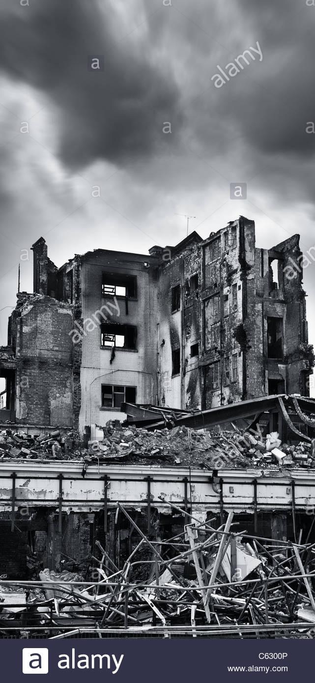 Brand beschädigte Gebäude, Southsea Portsmouth Stockbild