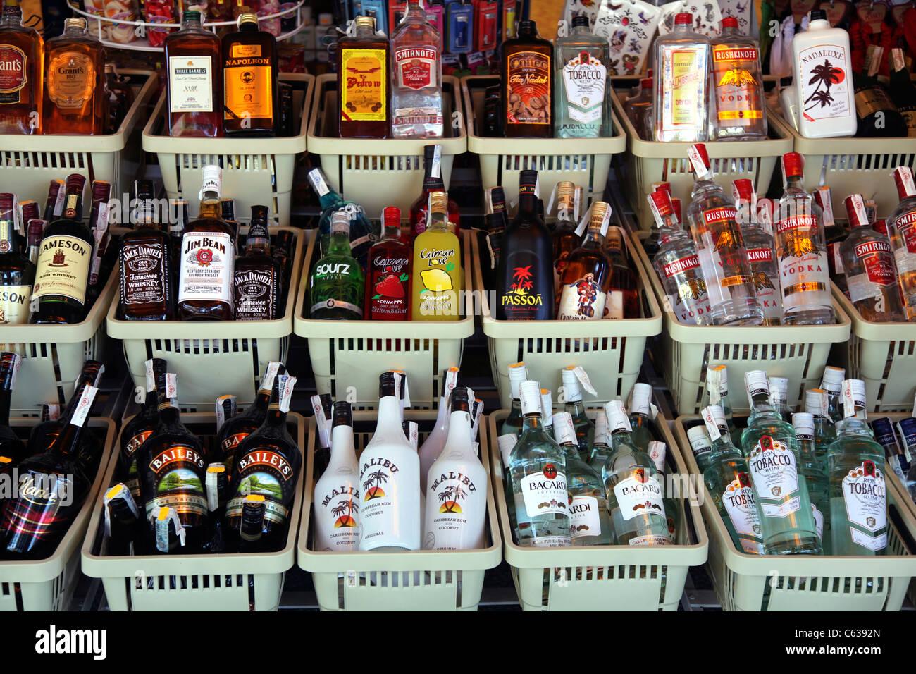 Alkoholische Getränke zum Verkauf im Ladengeschäft \