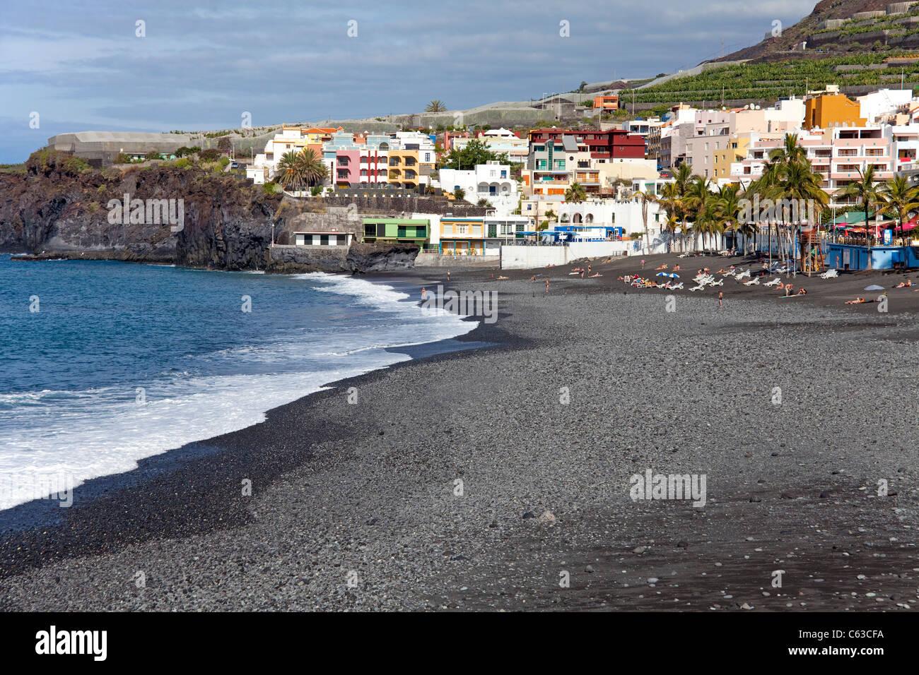 Strand von Puerto Naos, La Palma, Kanarische Inseln, Spanien, Europa Stockbild