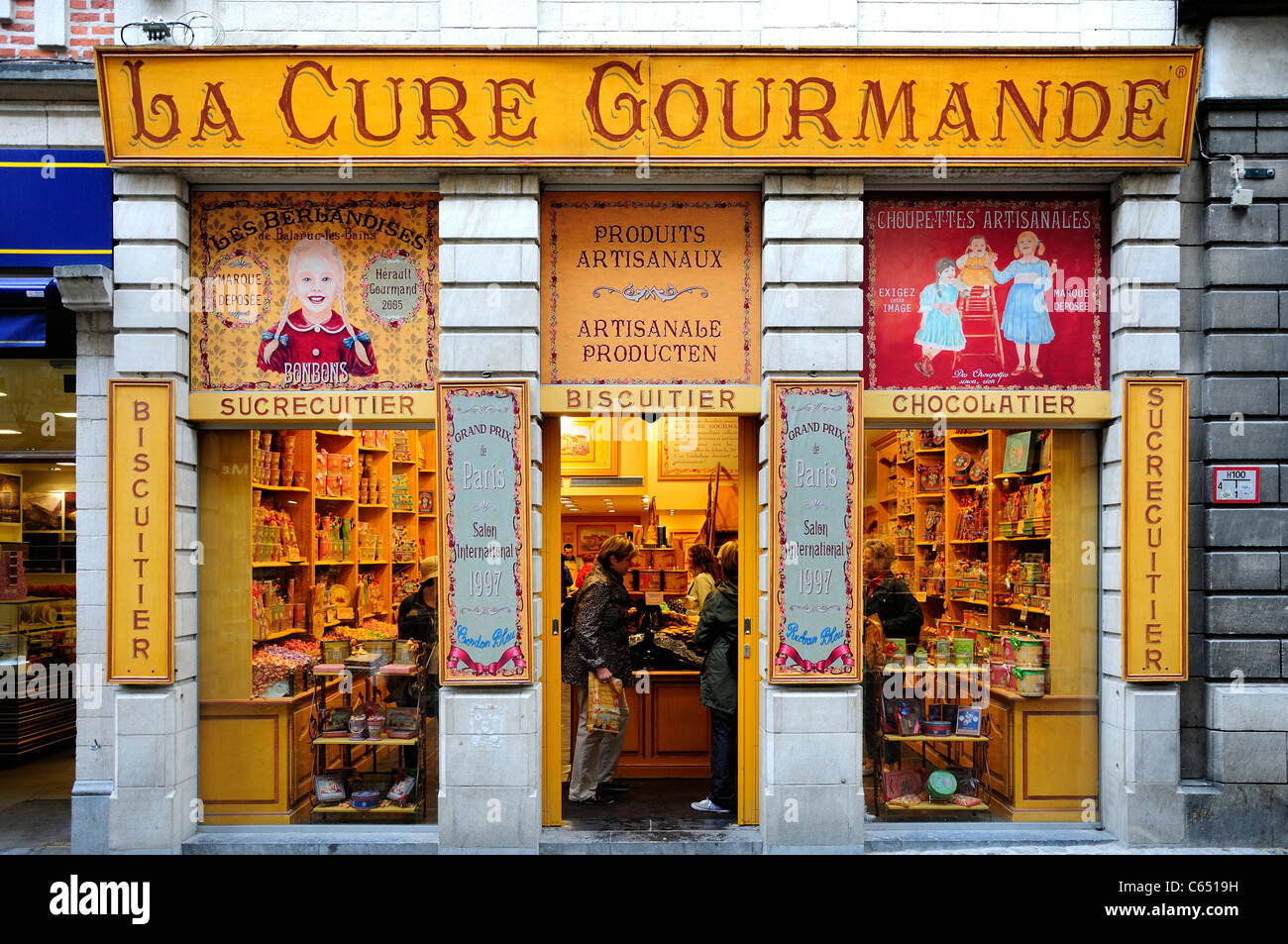 Brüssel, Belgien. La Cure Gourmande - Konditorei Stockbild