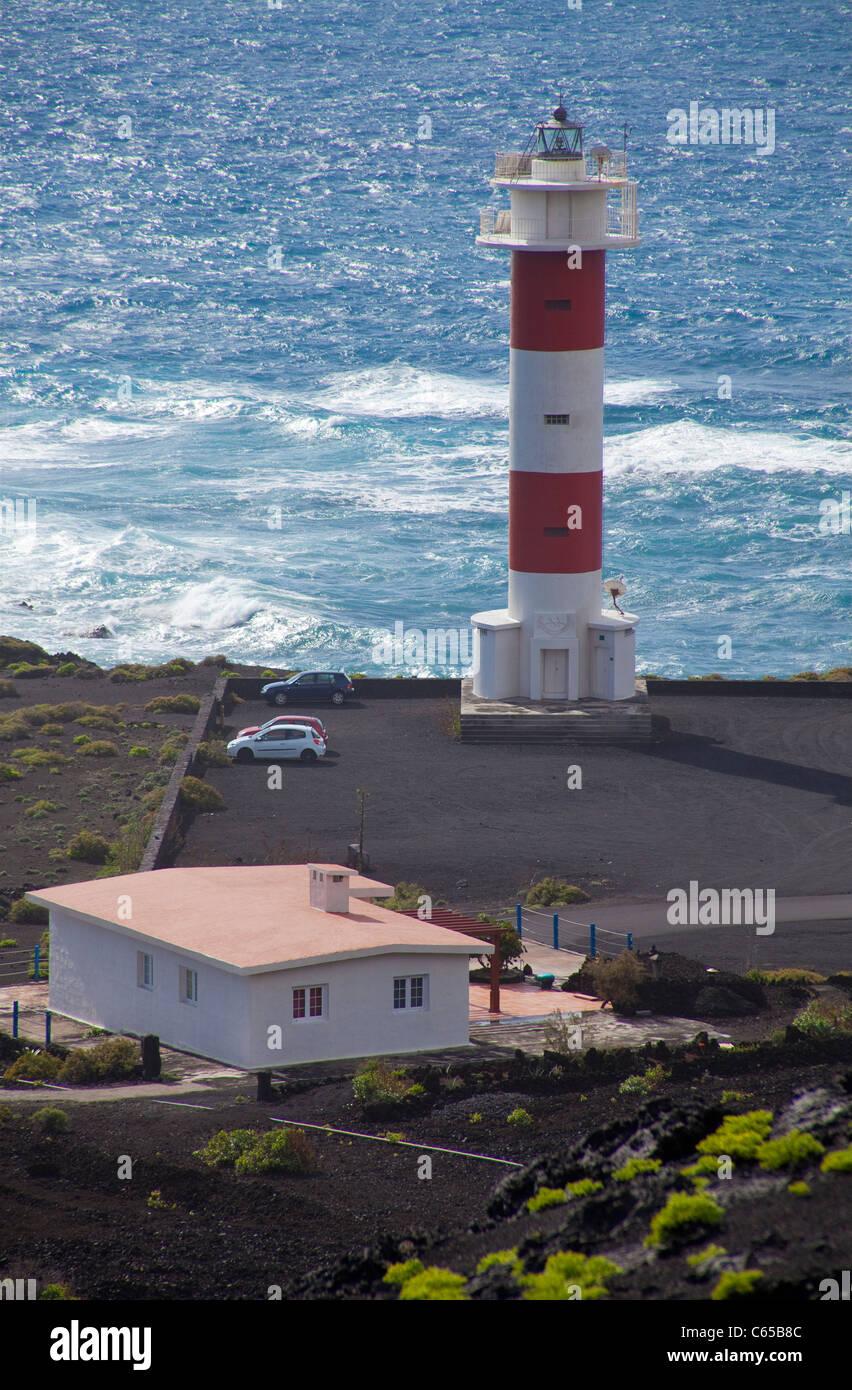 Neue Leuchtturm Faro de Fuencaliente, South Coast, La Palma, Kanarische Inseln, Spanien, Europa Stockbild