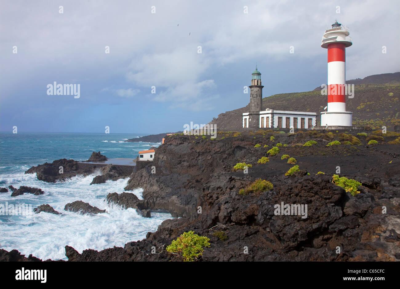 Neue und alte Leuchtturm Faro de Fuencaliente, Südküste von La Palma, Kanarische Inseln, Spanien, Europa Stockbild