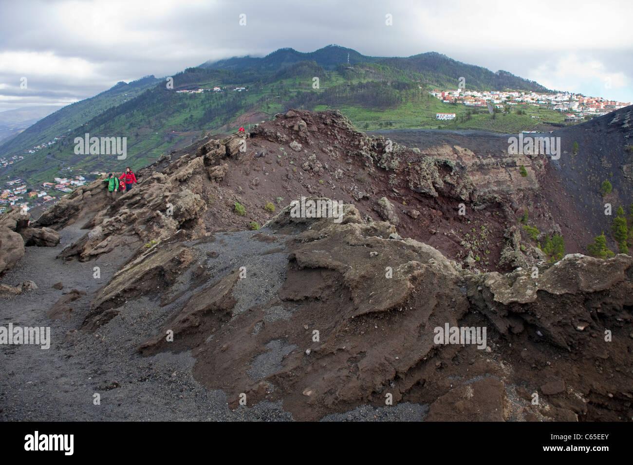 Blick in Den Vulkan San Antonio, Fuencaliente, Los Canarios, Blick in den Vulkan San Antonio, Fuencaliente Stockbild