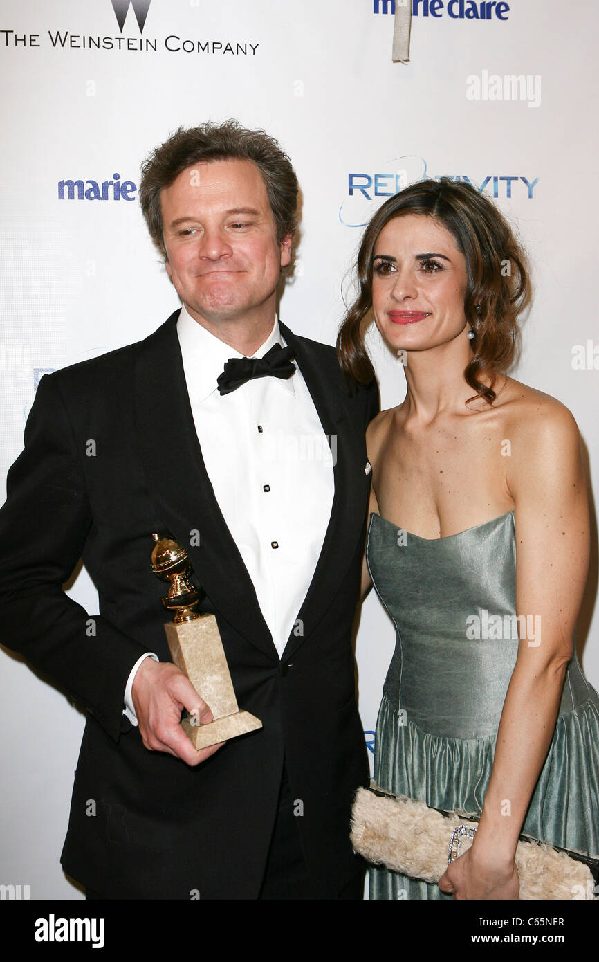 Colin Firth, Frau Livia Giuggioli auf der after-Party für die Weinstein Company und Relativity Media 2011 Golden Stockbild