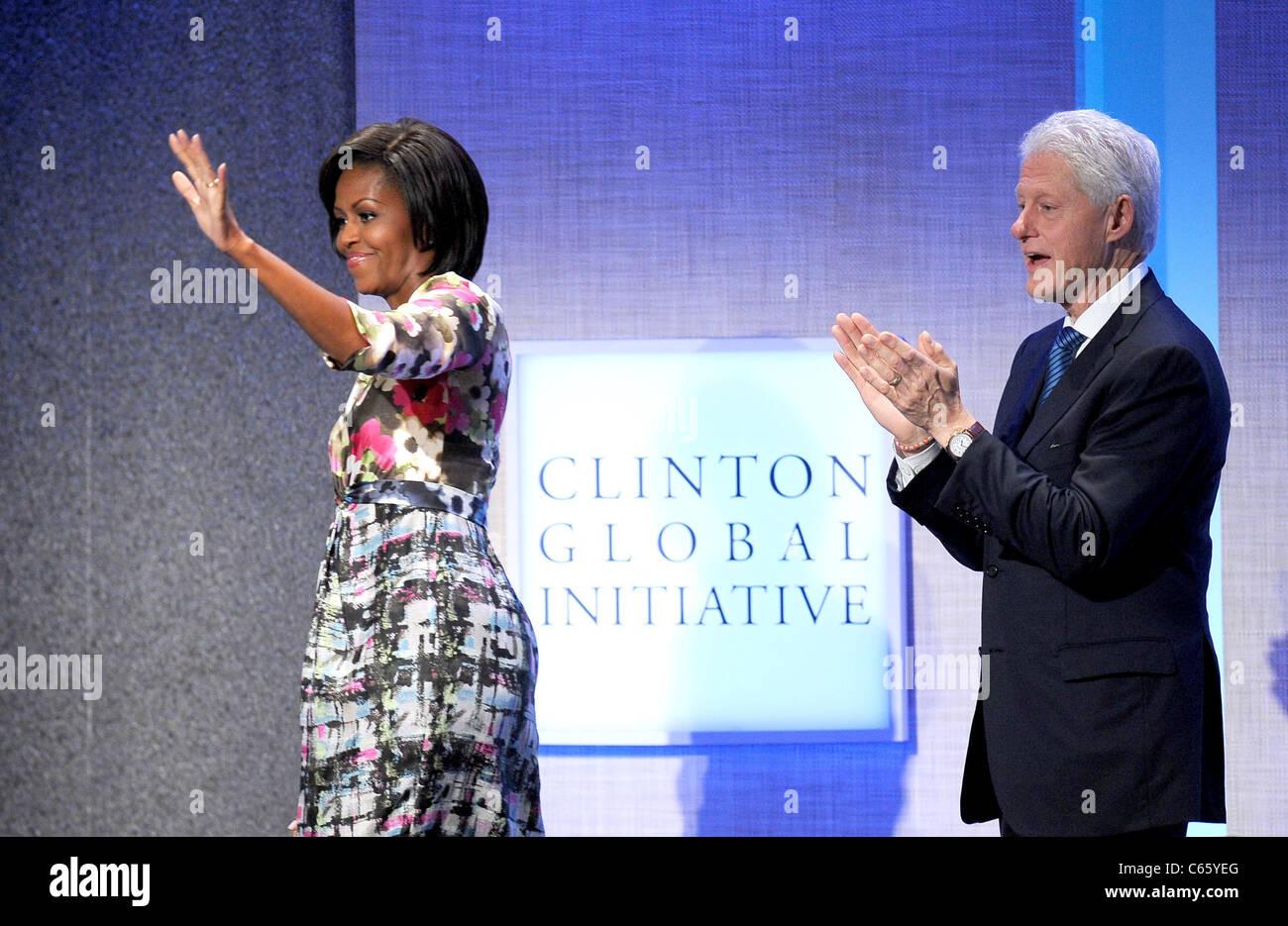 Michelle Obama, Bill Clinton in Anwesenheit für jährliche Clinton Global Initiative (CGI), New York, NY Stockbild