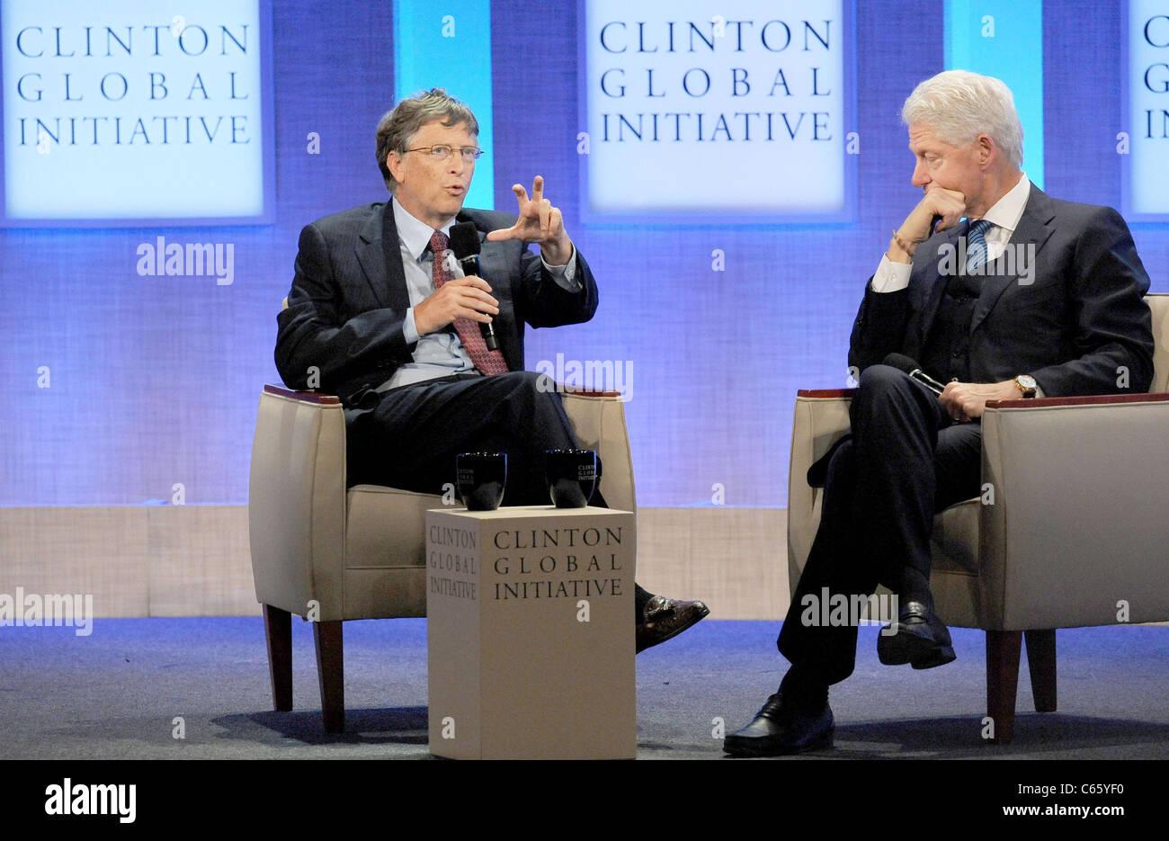 Bill Gates, Bill Clinton in Anwesenheit für jährliche Clinton Global Initiative (CGI), New York, NY 23. Stockbild