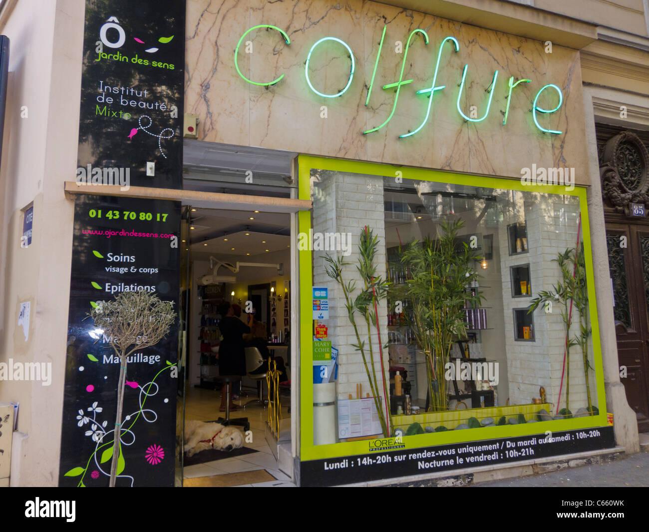 Paris, Frankreich, Glas Haustür Modern Französisch Coiffure Beauty ...