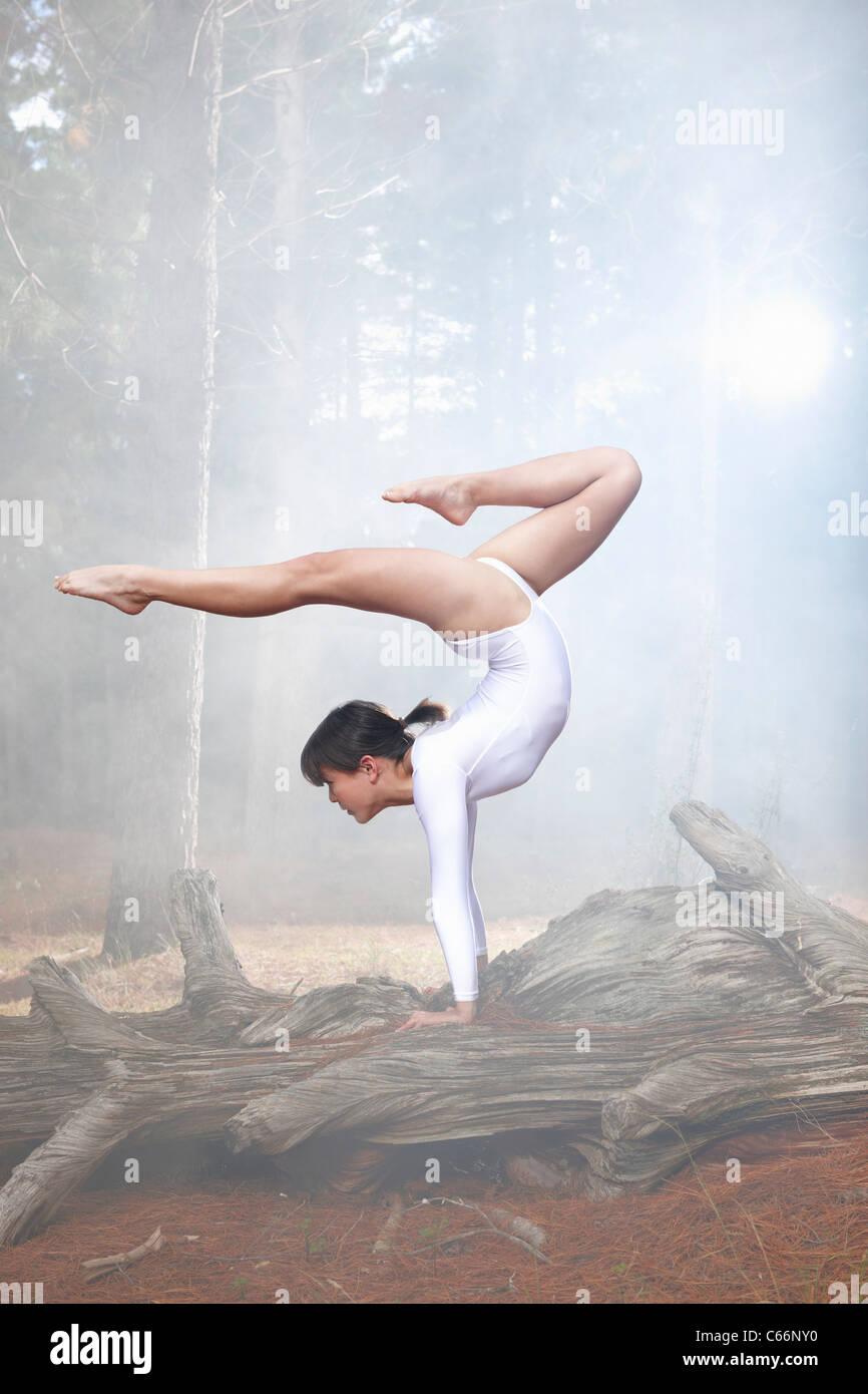 Tänzerin, posiert auf Log in Wald Stockbild
