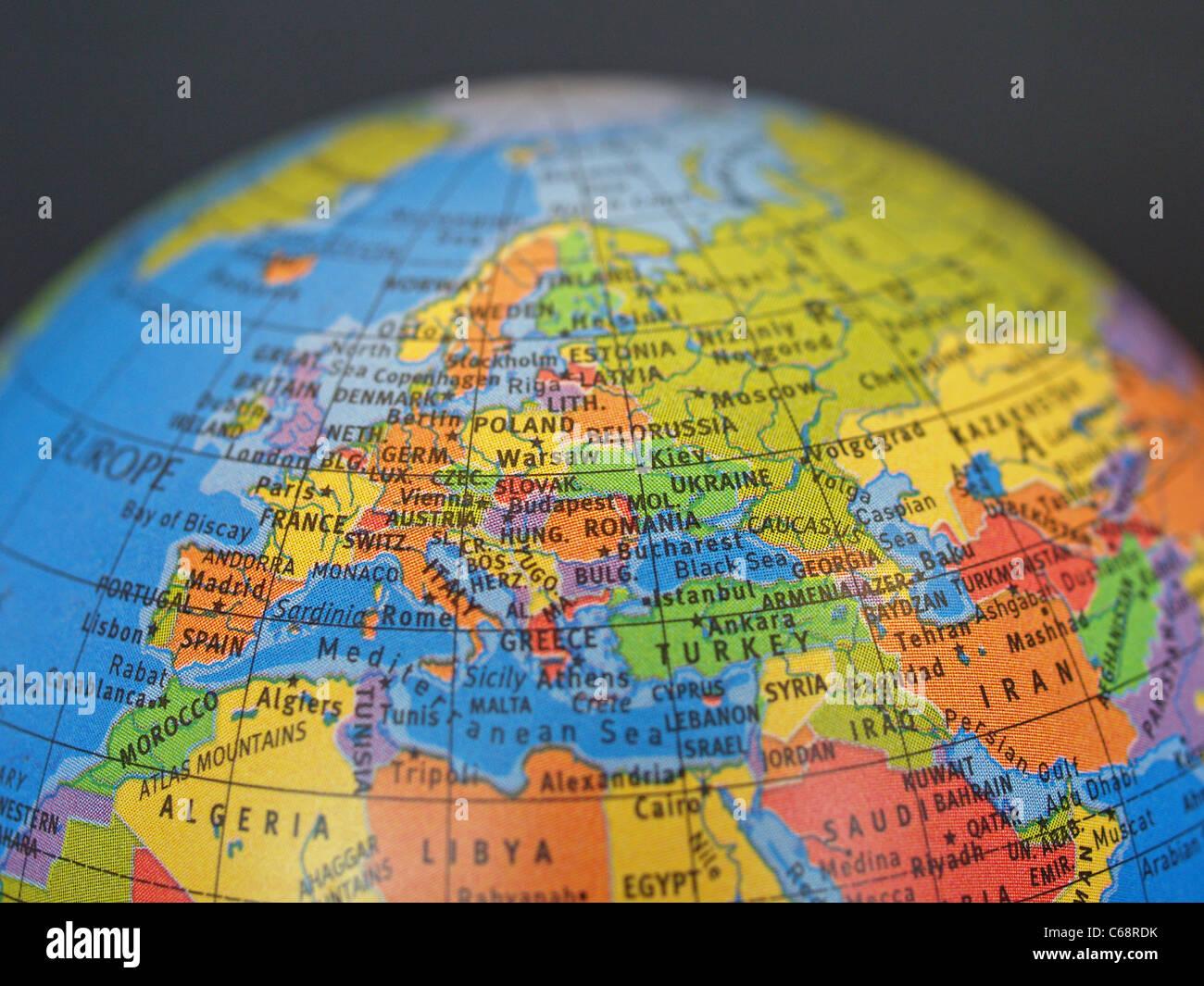 Detailansicht eines Globus Stockbild