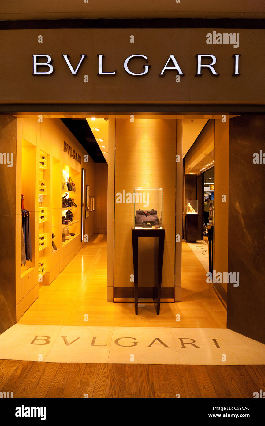 Bulgari Schmuck Shop, Terminal 3, Flughafen Heathrow London UK Stockbild e5fe03254ba