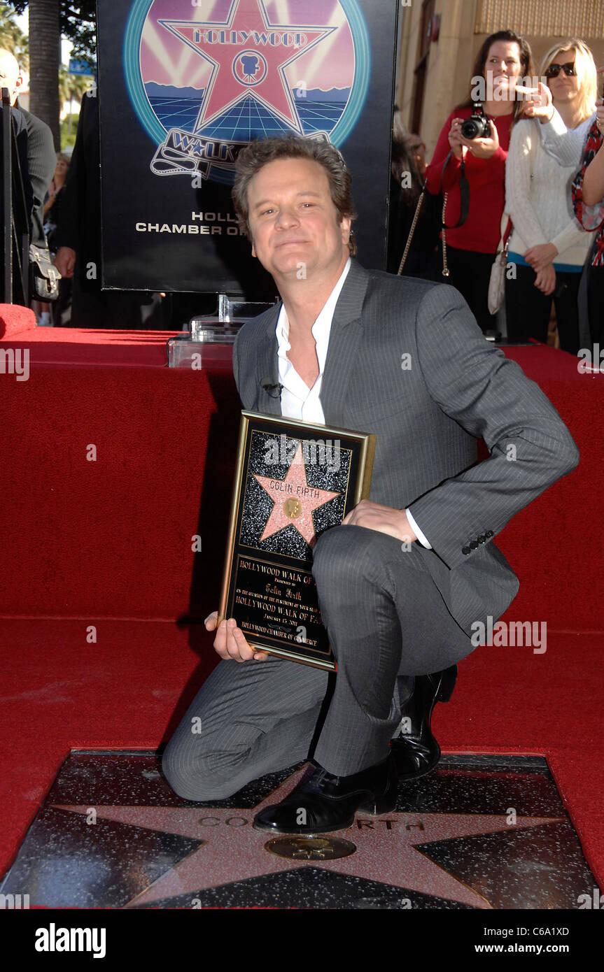Colin Firth bei der Induktion Zeremonie für Stern auf Hollywood Walk von Fame Zeremonie für Colin Firth, Stockbild