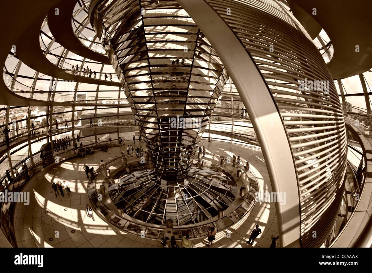 Reichstag Gebäude, Dach Top Terasse Kuppel von Sir Norman Forster, Berlin,Stockfoto