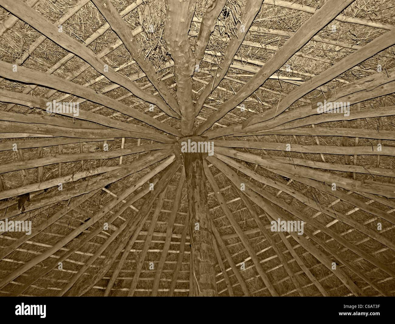 Dach des Stammes Hütte von innen machte Bambus & trockenes Gras ...