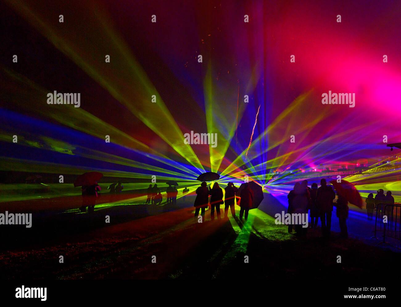 Licht, Kunst, Lasershow, Multimediashow, Pyro Show, Ostern Lichter, Kalkriese, Osnabrück Bezirk, untere Niedersachsen, Stockbild