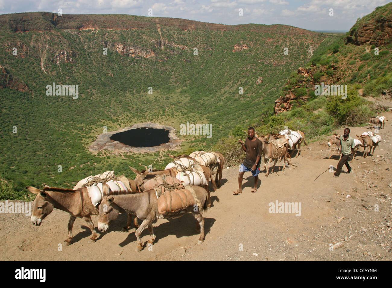 Kauen Sie Wette Krater und Wohnwagen im Süden Äthiopiens Stockbild
