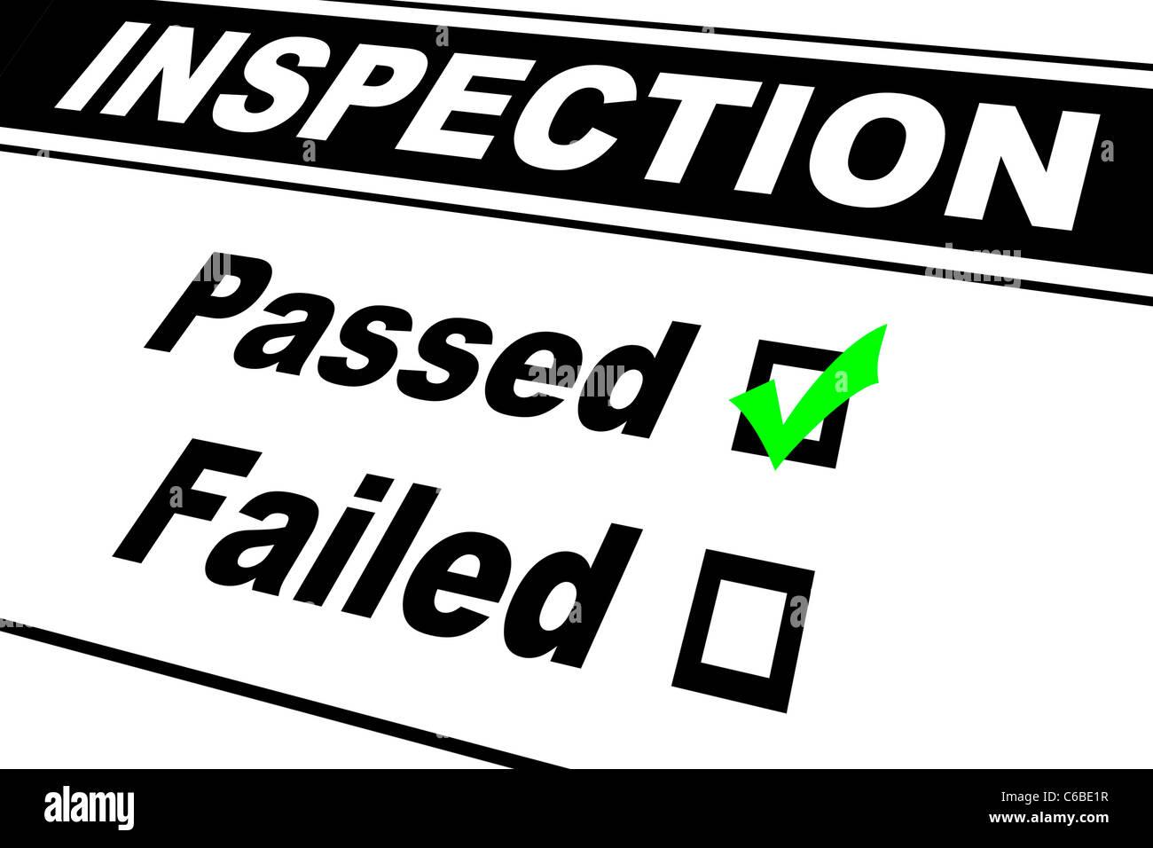 Prüfergebnisse Bericht ausgefüllt mit Passed gewählt, isoliert auf weiss Stockbild