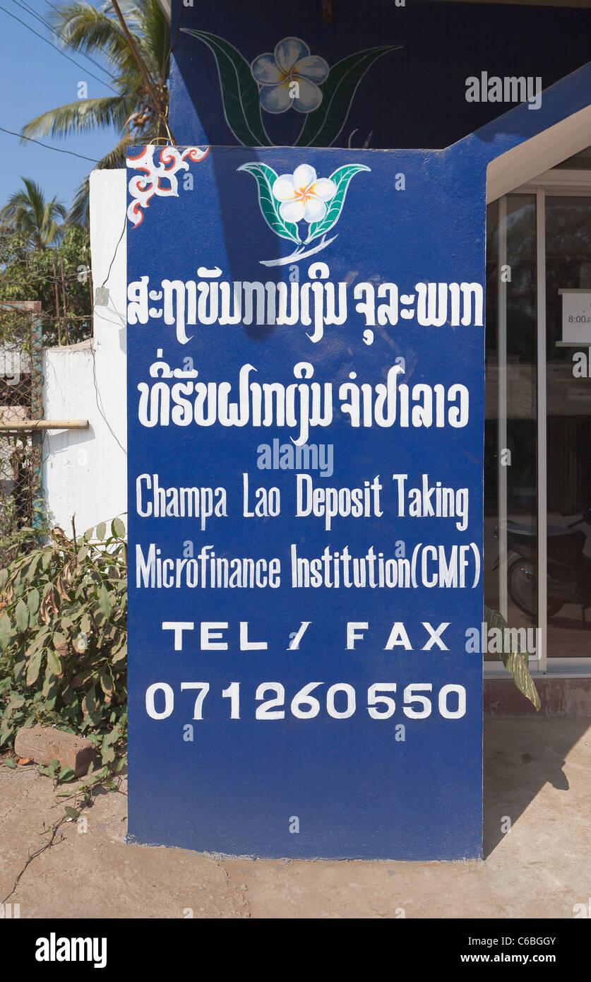 Mikrofinanz Institut Zweig Zeichen, Laos Stockbild