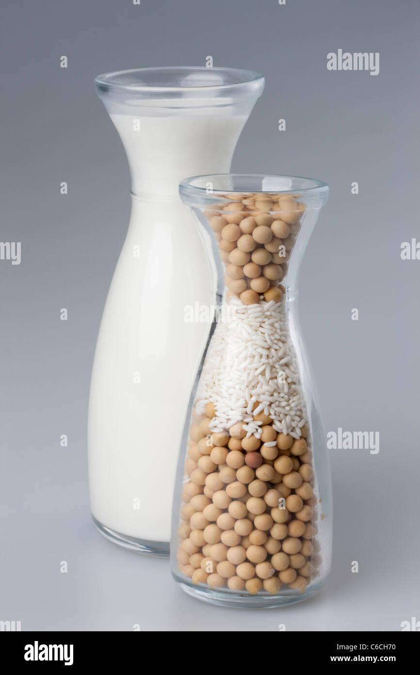 Milch und Bohnen Stockbild