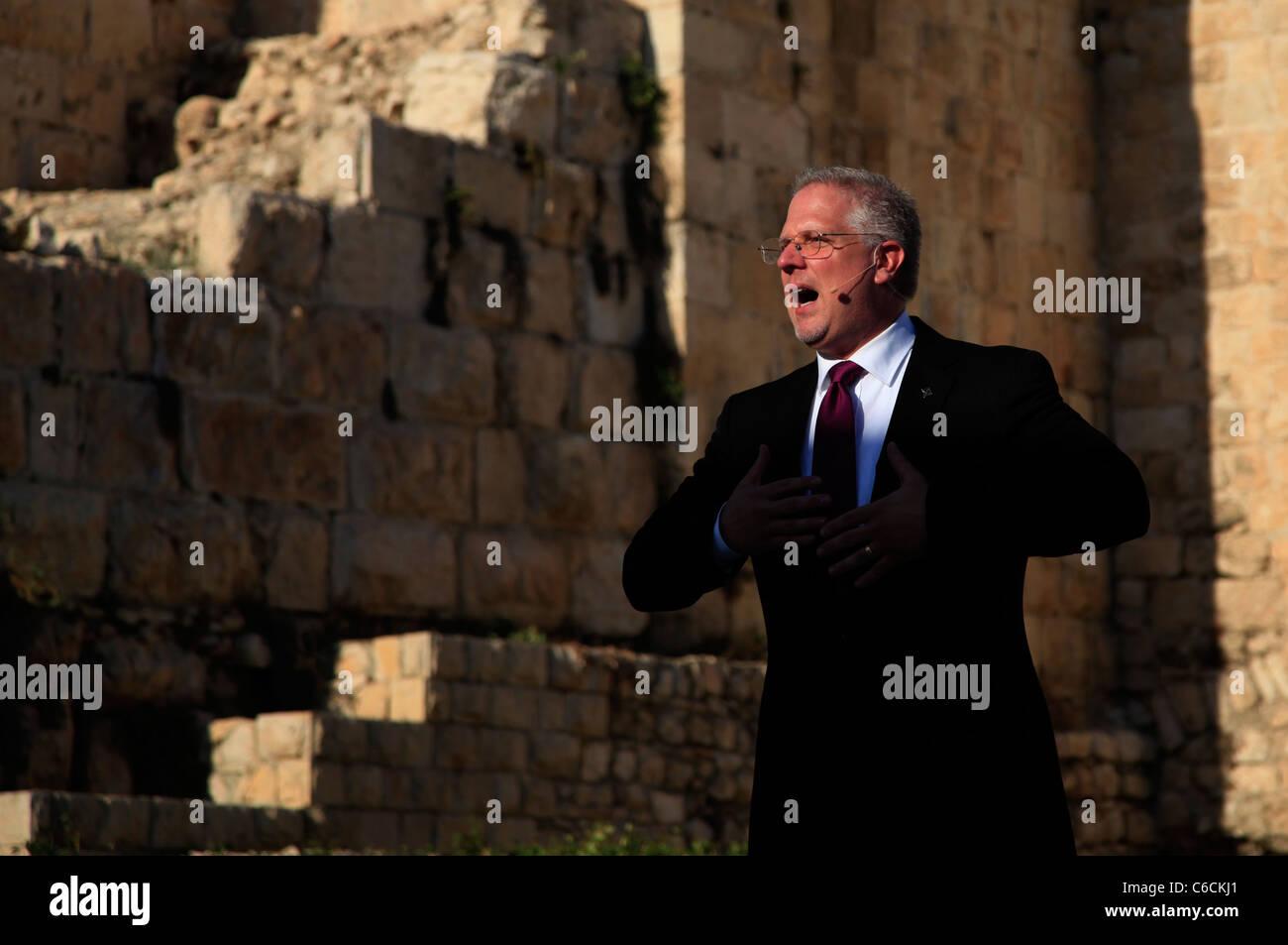 US-Radio-Persönlichkeit Glenn Beck beherbergt Rallye Unterstützung Israels in der alten Stadt von Jerusalem Stockbild