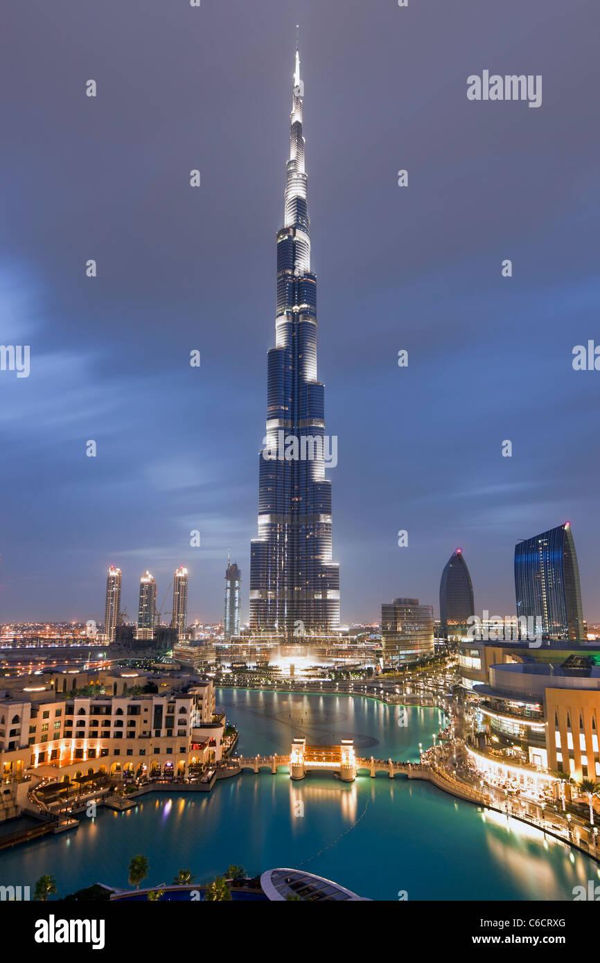 Das Burj Khalifa, abgeschlossen im Jahr 2010 die höchsten künstlichen Bauwerk der Welt, Dubai, Vereinigte Stockbild