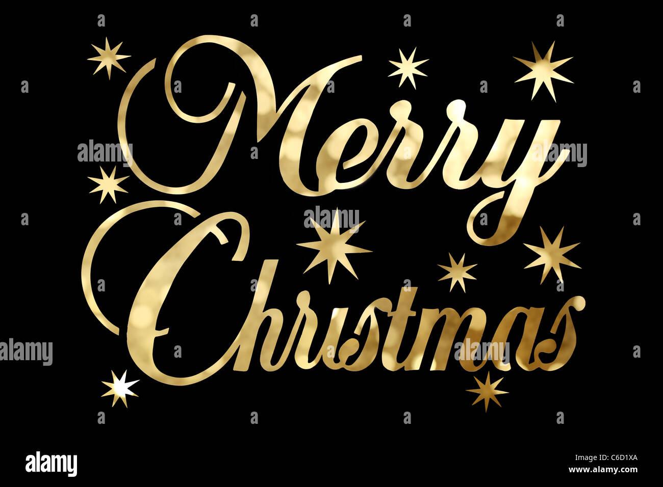 Goldene Frohe Weihnachten Zeichen auf schwarzem Hintergrund isoliert ...