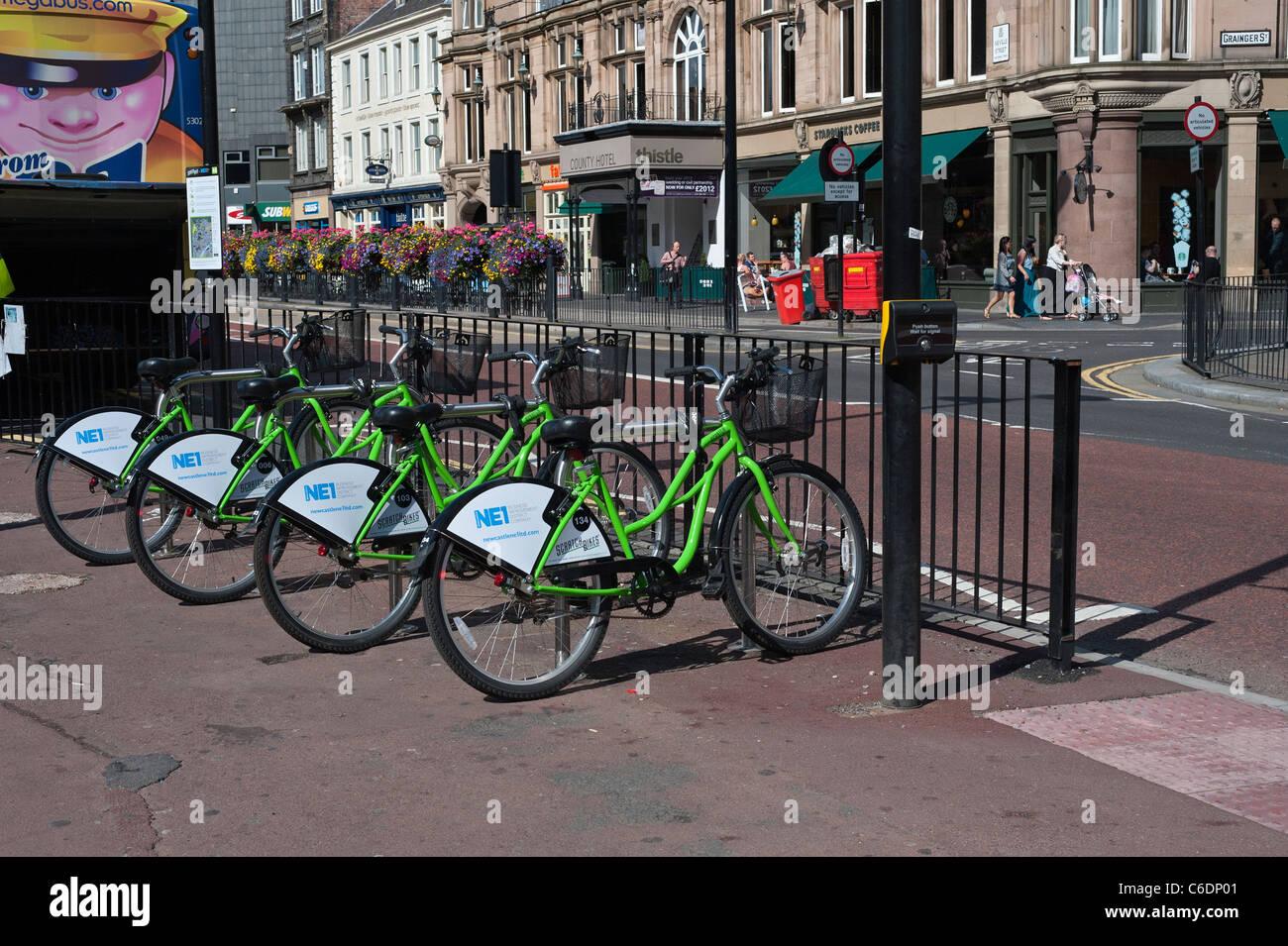 ScratchBikes betrieben ein Zyklus Vermietung Schema in Newcastle Upon Tyne Stockbild