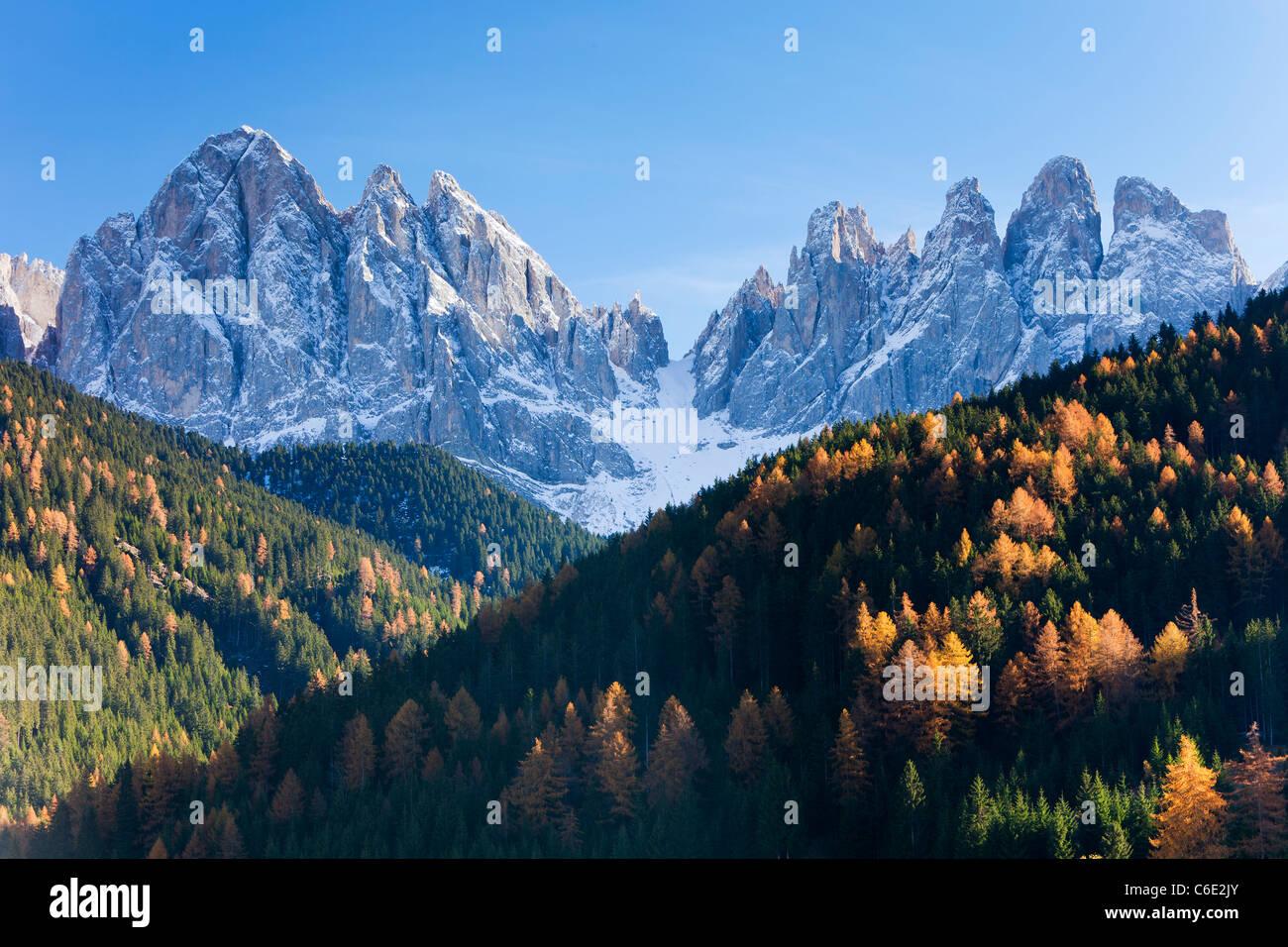 Berge, Geisler Gruppe / Geislerspitzen, Dolomiten, Trentino-Alto Adige, Italien, Europa Stockbild