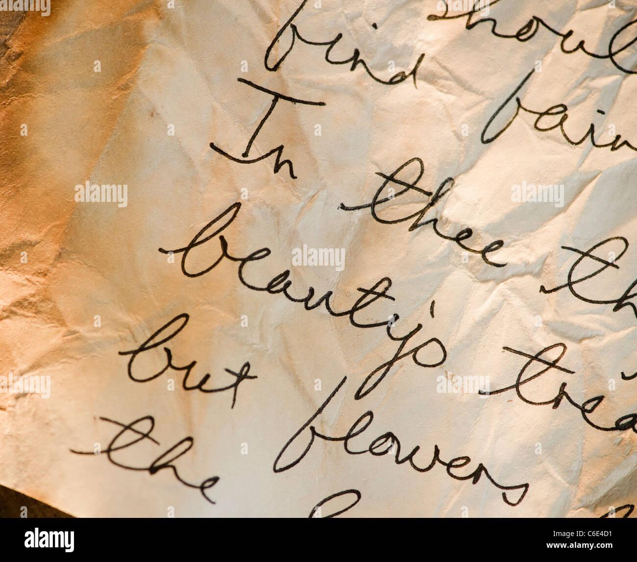 Nahaufnahme eines antiken Liebesbrief auf Pergament Stockbild